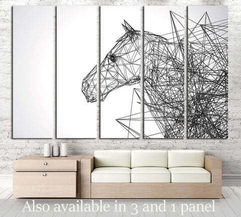 Horse Stylized Low Poly Wire Construction Concept Concepts Connection №2883  Canvas Print