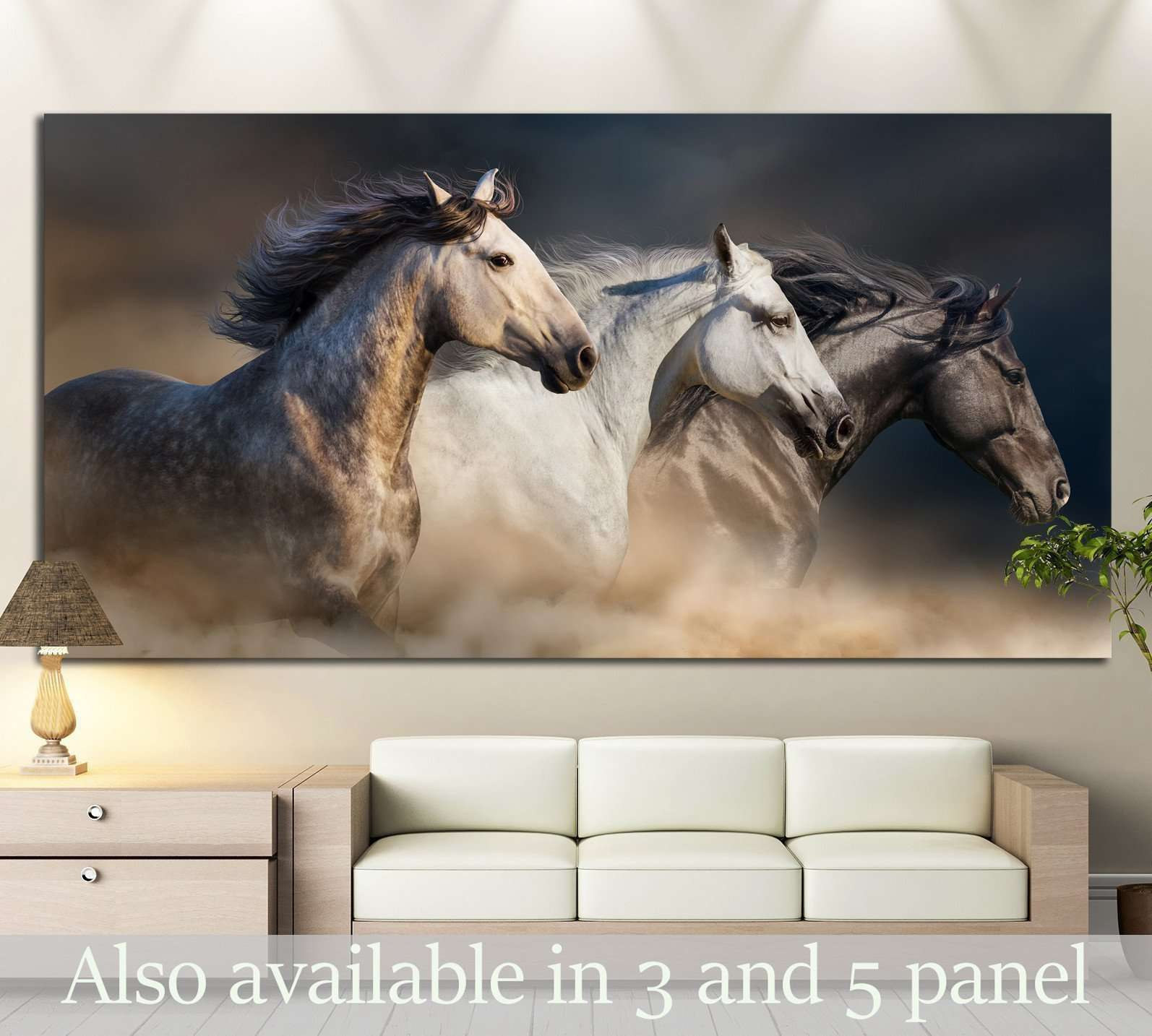 Horses with long mane portrait run gallop in desert dust №1326 Ready to Hang Canvas Print