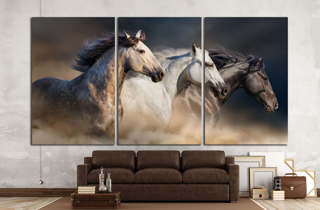 Horses with long mane portrait run gallop in desert dust №1326