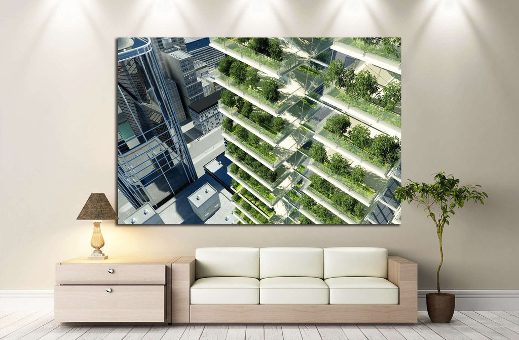 Houses of the future in the city №1439 Ready to Hang Canvas Print
