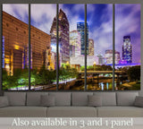 Houston, Texas downtown cityscape at night №2075 Ready to Hang Canvas Print