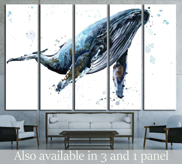 Humpback whale watercolor illustration. Underwater fauna №1835 Ready to Hang Canvas Print