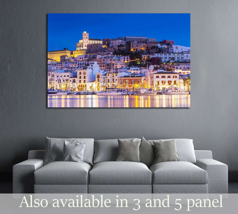 Ibiza Dalt Vila downtown at night with light reflections in the water, Ibiza, Spain. №2732 Ready to Hang Canvas Print