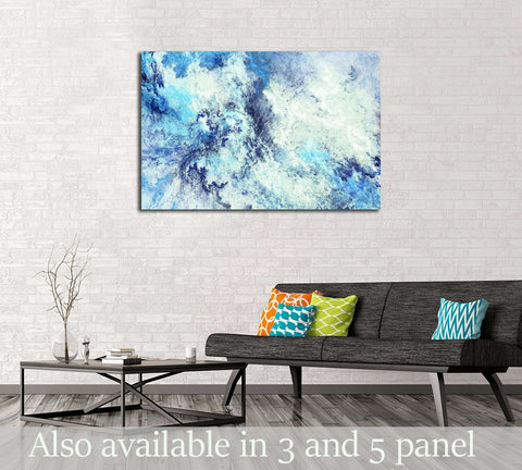 Icy clouds. Blue artistic splashes №3239 Ready to Hang Canvas Print