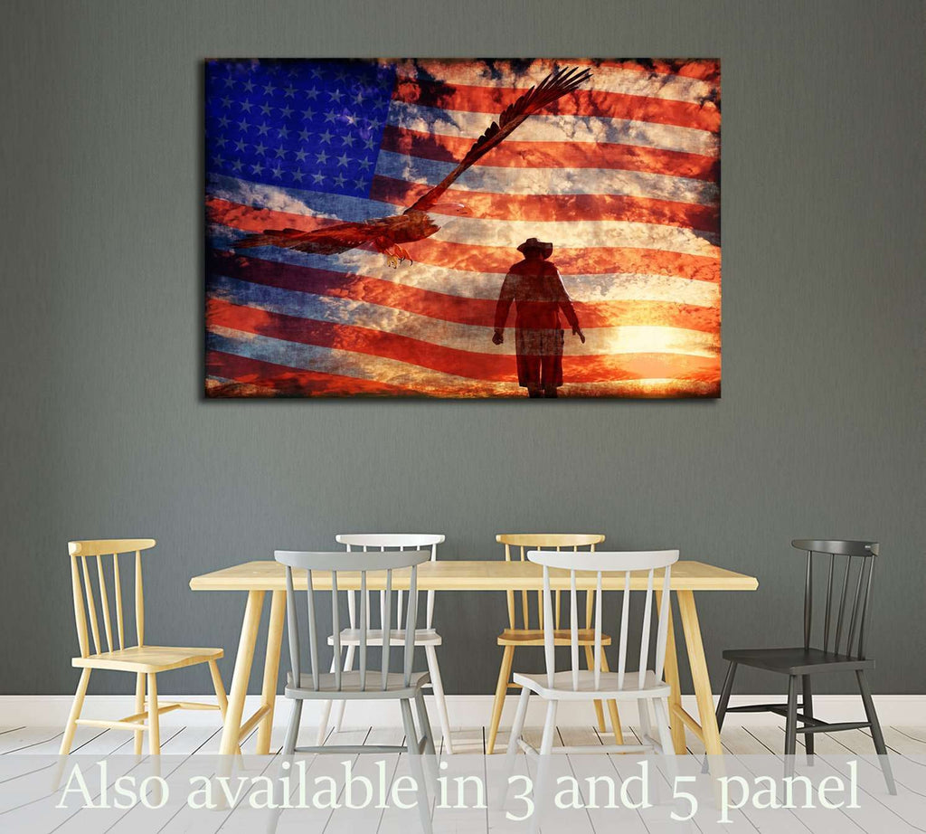 Illustration of a cowboy at sunset with an eagle and american flag    №3249 Canvas Print