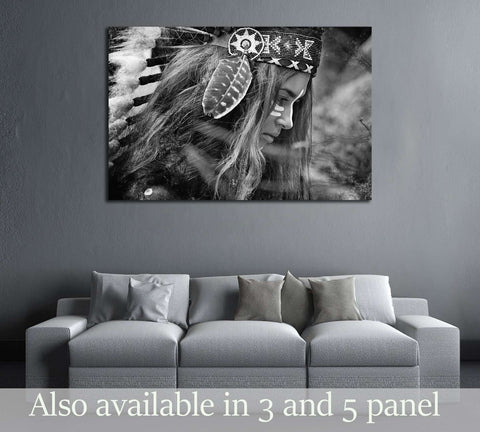 Indian woman hunter. Black and white portrait №2768 Ready to Hang Canvas Print