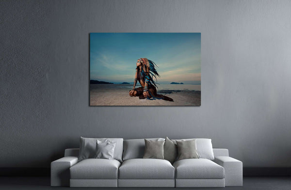 indian woman outdoors at sunset. native american style. Background with free text space №2770 Ready to Hang Canvas Print