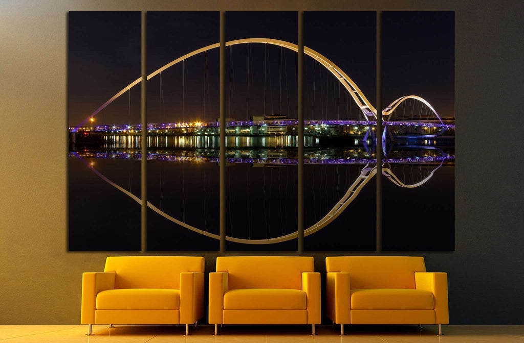 Infinity Bridge in Stockton-on-Tees across the River at Night №1681 Ready to Hang Canvas Print