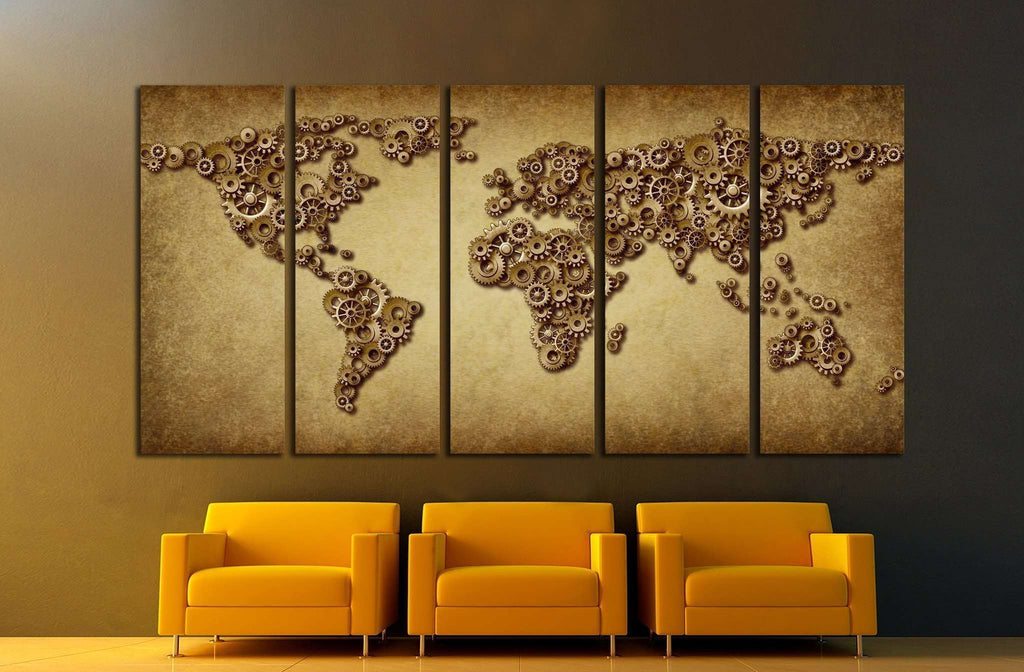 International economy old grunge map №1323 Ready to Hang Canvas Print