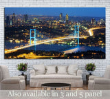 Istanbul Nights, Istanbul Turkey Bosporus Bridge №1260 Ready to Hang Canvas Print