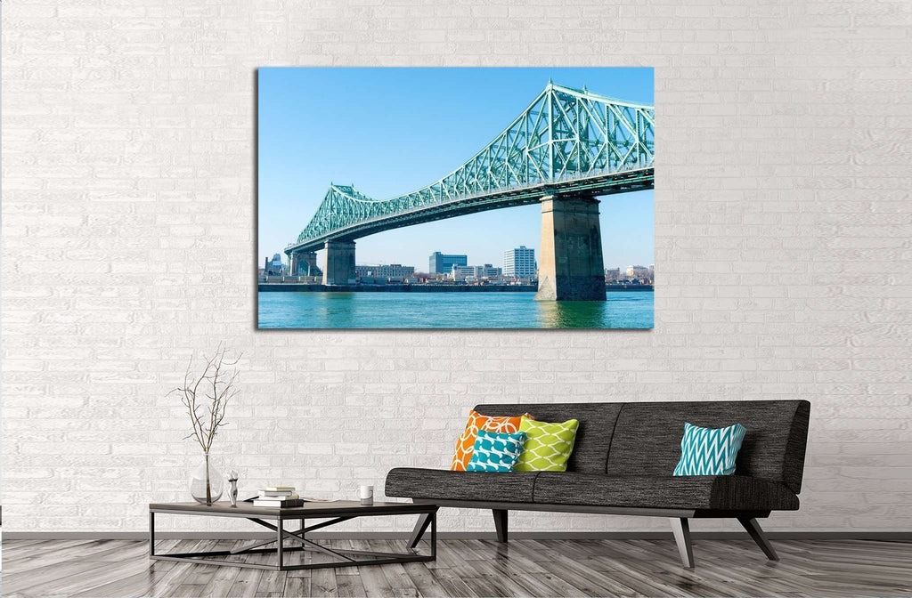 Jacques-Cartier Bridge in Montreal, at sunset №2016 Ready to Hang Canvas Print