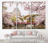 Japan Himeji castle, White Heron Castle, sakura cherry blossom season №1808 Ready to Hang Canvas Print