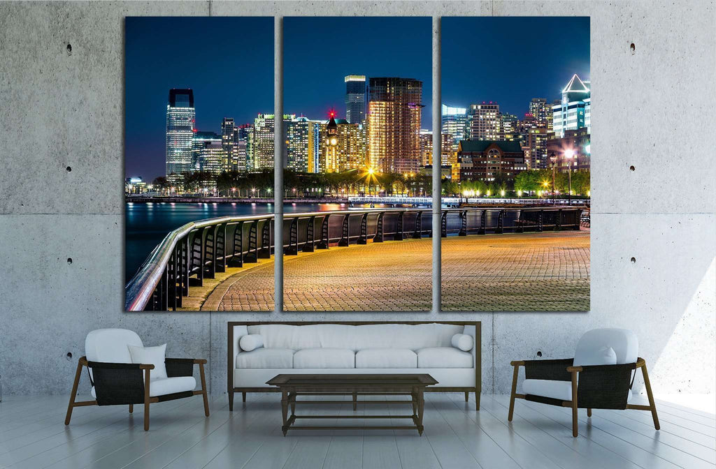 Jersey City skyline by night along Hudson river promenade №1774 Ready to Hang Canvas Print