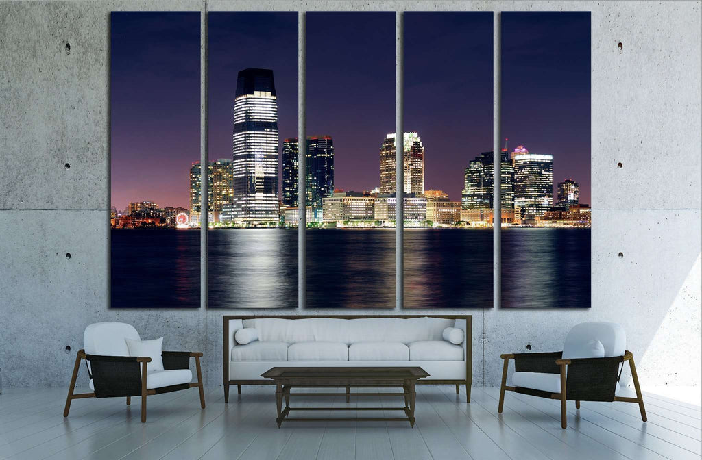 Jersey City skyline with skyscrapers, Hudson River, New York City Manhattan №1713 Ready to Hang Canvas Print