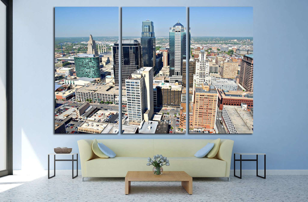 Kansas City taken from the top floor of City Hall №1618 Ready to Hang Canvas Print
