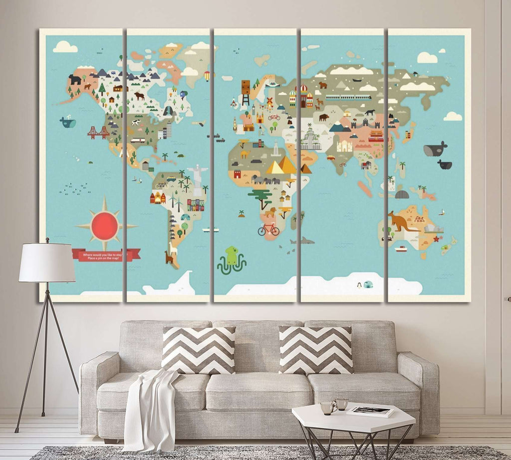 Kids world map №31 Ready to Hang Canvas Print