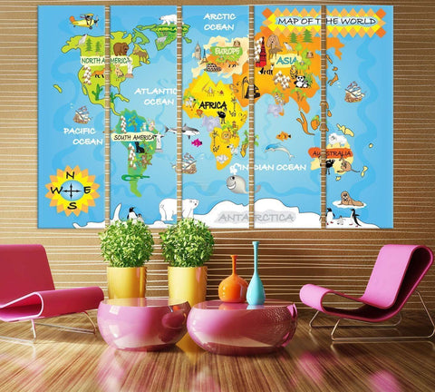 Kids World Map №714 Ready to Hang Canvas Print