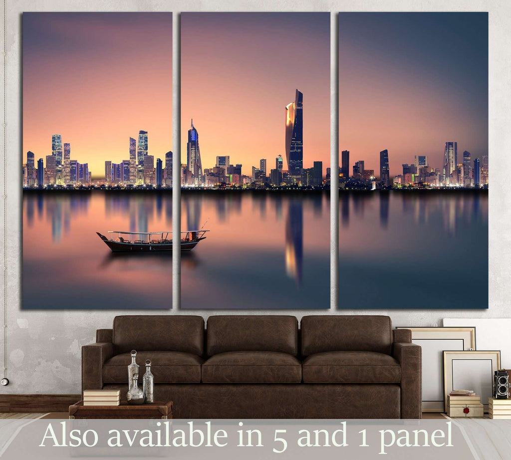 Kuwait city skyline during sunset №2937 Ready to Hang Canvas Print