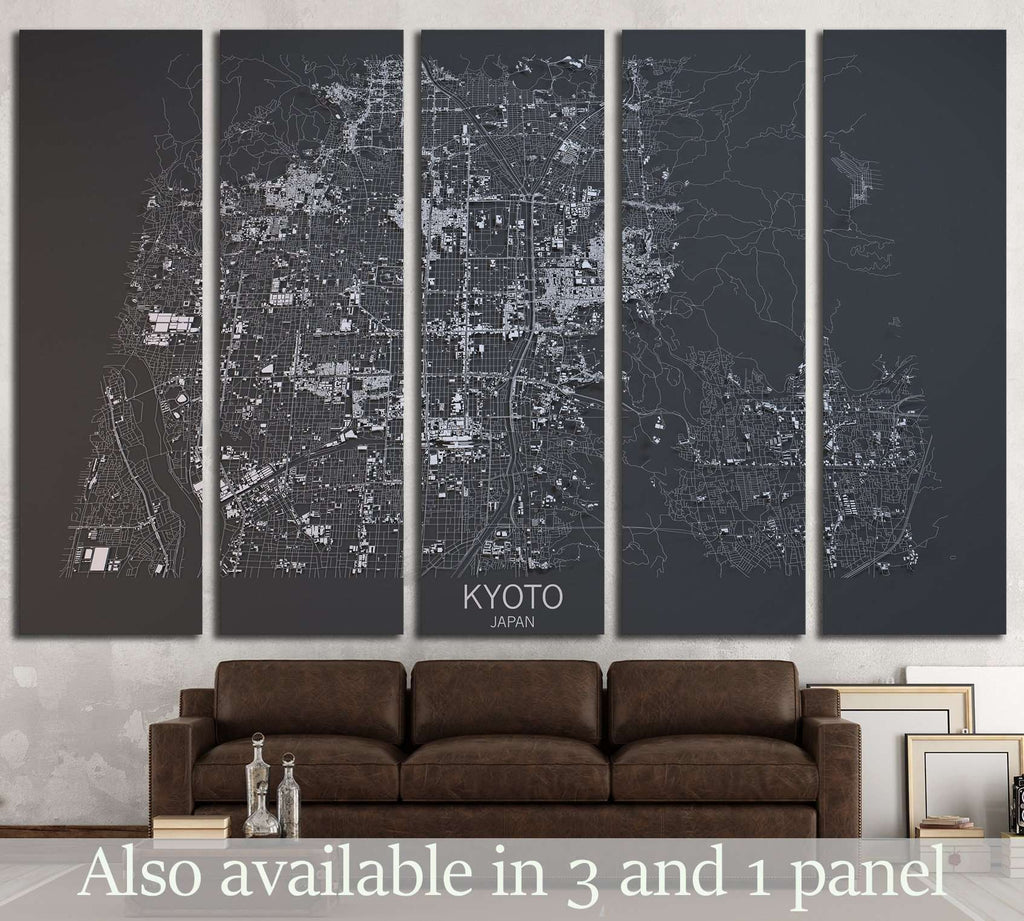 Kyoto map, satellite view, Japan №1825 Ready to Hang Canvas Print