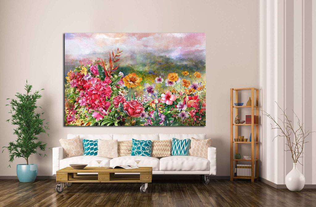 landscape of multicolored flowers watercolor painting №1351 Ready to Hang Canvas Print