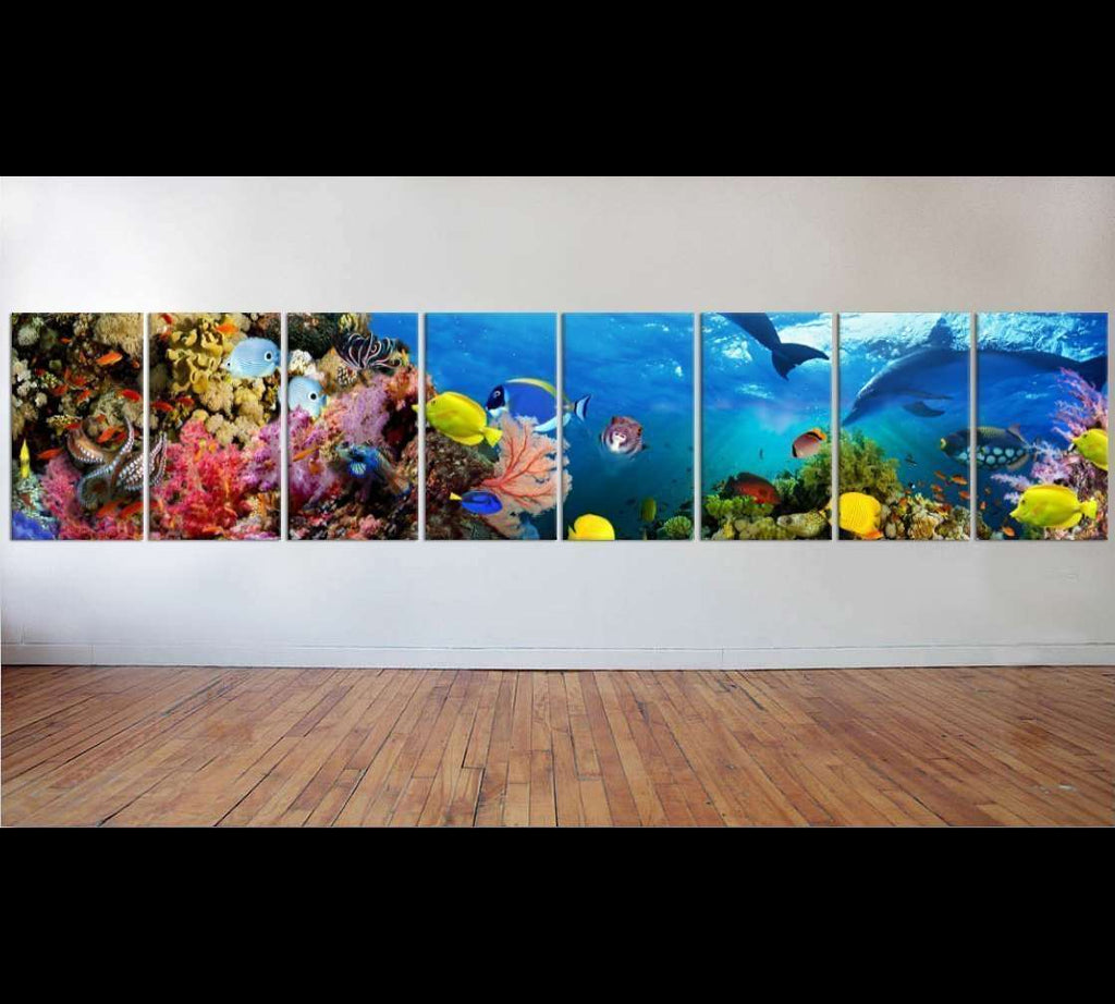 Large Panorama of marine species №56 Ready to Hang Canvas Print