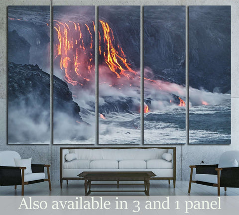 Lava erupting into Pacific Ocean in Hawaii Big Island №2922 Ready to Hang Canvas Print