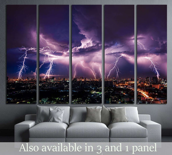 Lightning storm over city in purple light №2288 Ready to Hang Canvas Print