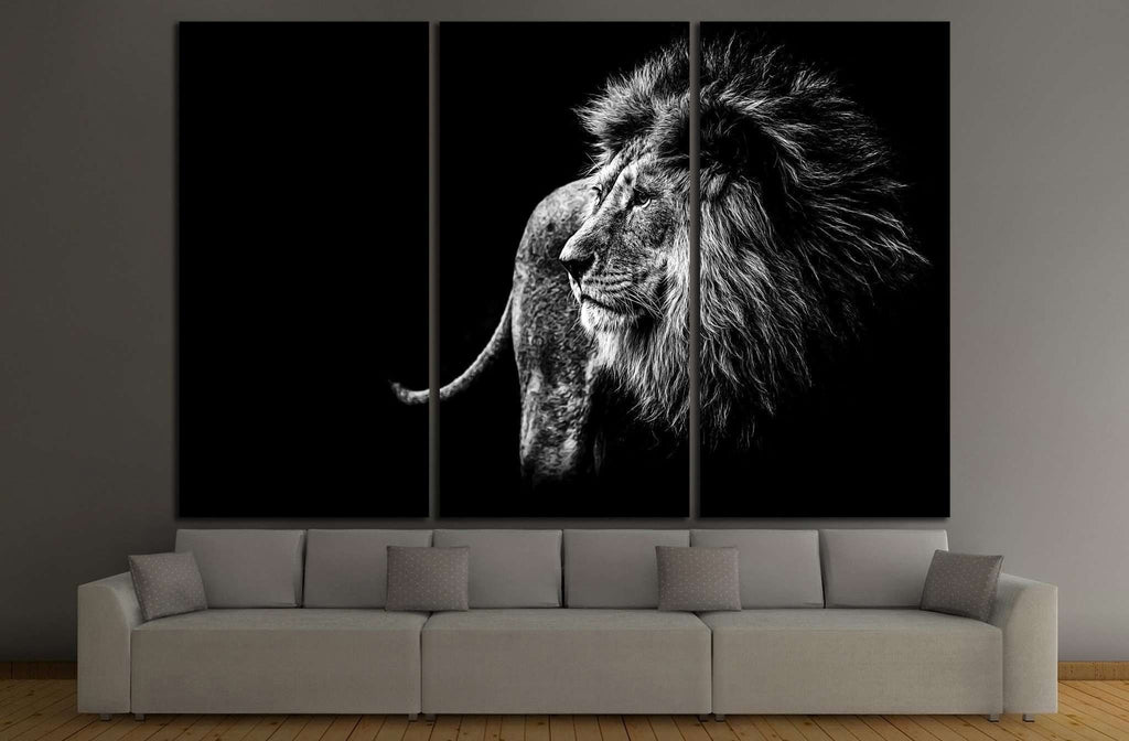 lion in black and white №1328 Ready to Hang Canvas Print
