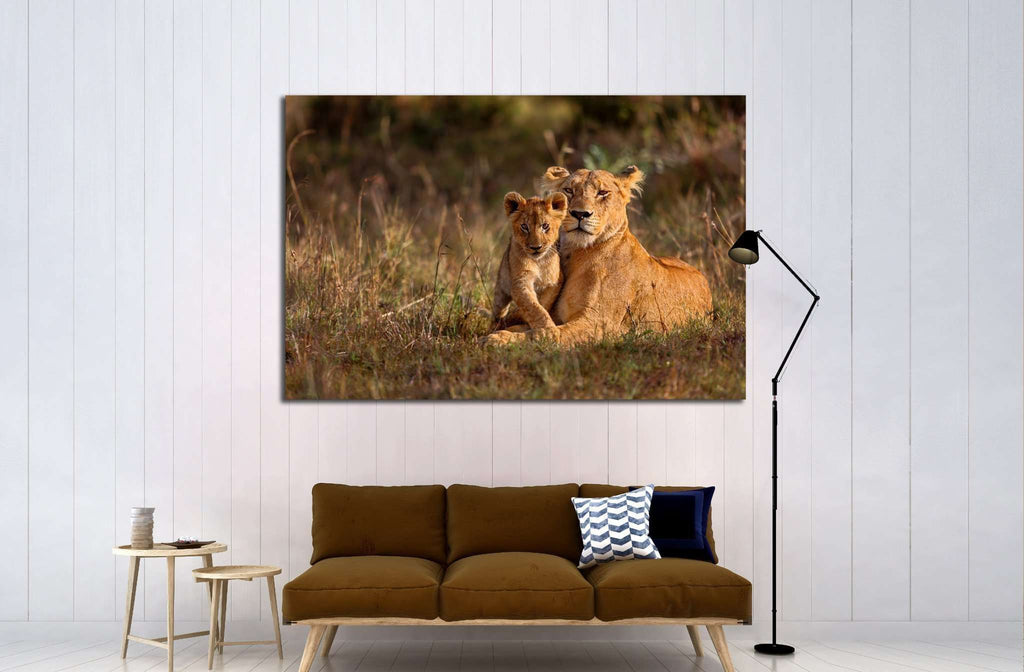 Lion mother of Notches Rongai Pride with cub in Masai Mara, Kenya №1850 Ready to Hang Canvas Print