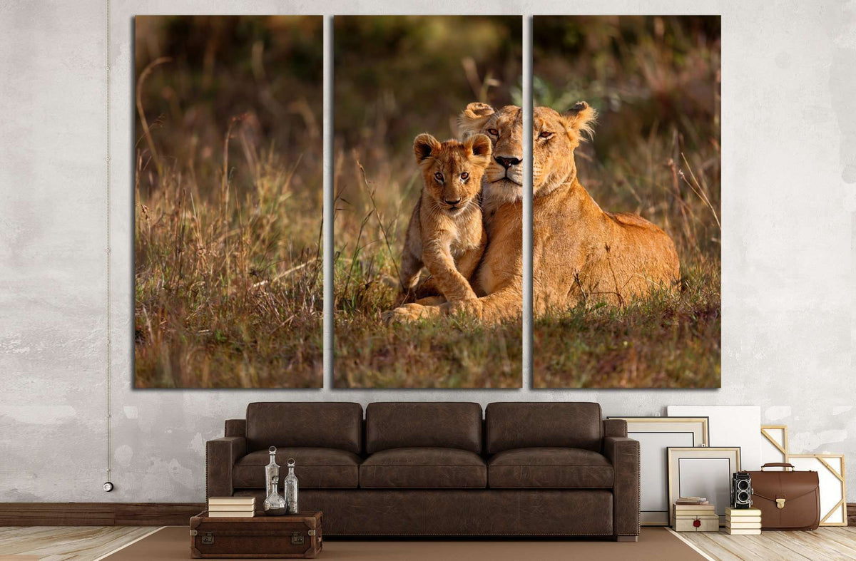 Lion Mother Of Notches Rongai Pride With Cub In Masai Mara