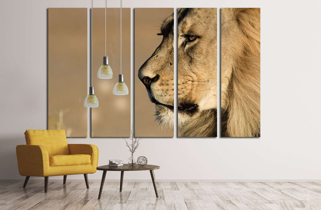 Lion Stare Head shot №1851 Ready to Hang Canvas Print