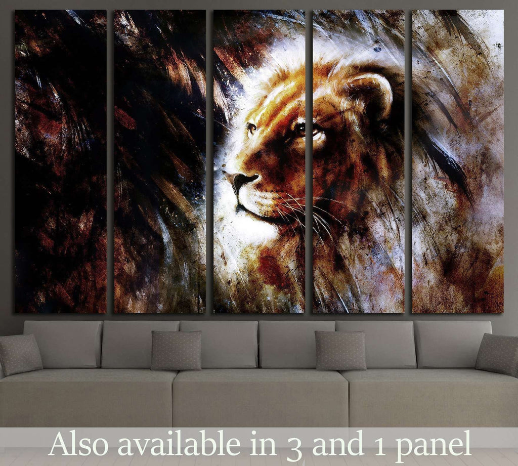 Lion Stare Head shot №1852 Ready to Hang Canvas Print