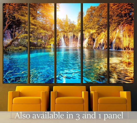 Location famous resort Plitvice Lakes National Park, Croatia, Europe №3088 Ready to Hang Canvas Print