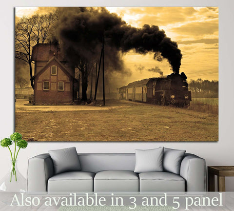 Locomotive and Smoke №236 Ready to Hang Canvas Print