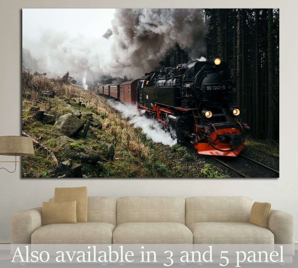 Locomotive in the Forest №237 Ready to Hang Canvas Print