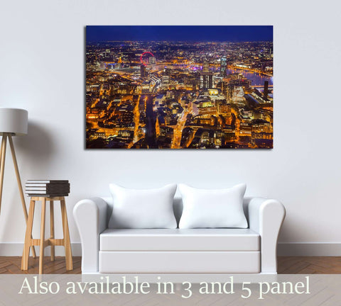 London at sunset, panoramic view at night with city lights №2974 Ready to Hang Canvas Print