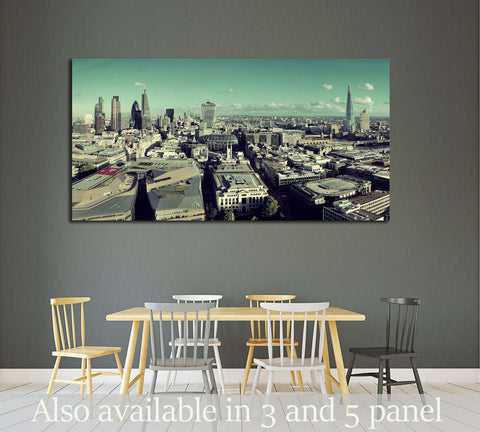 London city rooftop view panorama with urban architectures №2286 Ready to Hang Canvas Print