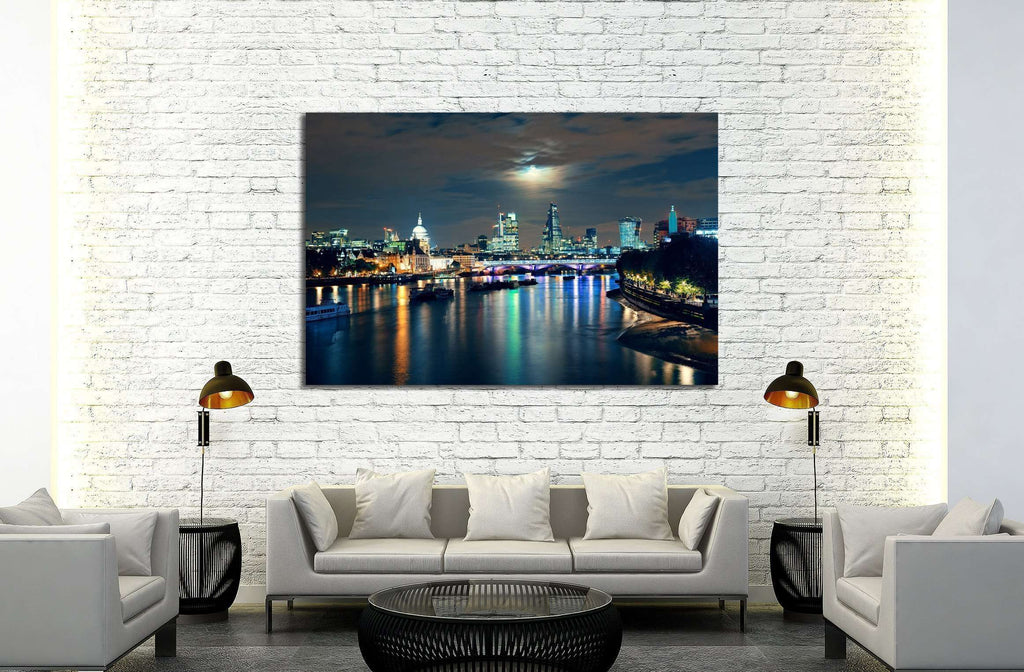 London cityscape with urban buildings and moon over Thames River at night №2164 Ready to Hang Canvas Print