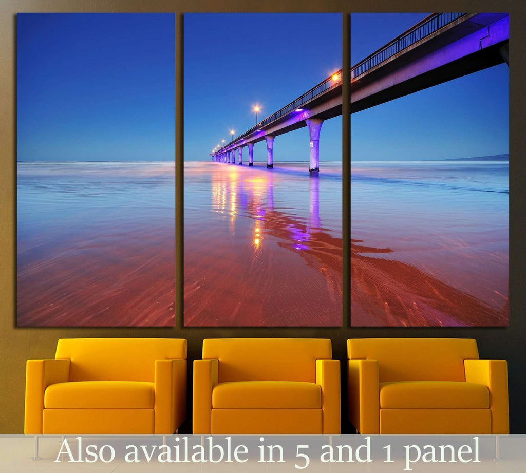 Long exposure of an ocean and New Brighton Pier Christchurch №2254 Ready to Hang Canvas Print