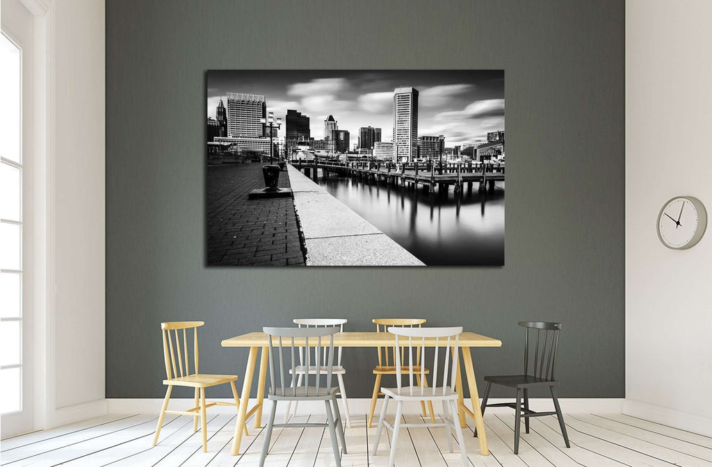 Long exposure of the Baltimore Skyline and Inner Harbor Promenade, Baltimore, Maryland №2177 Ready to Hang Canvas Print
