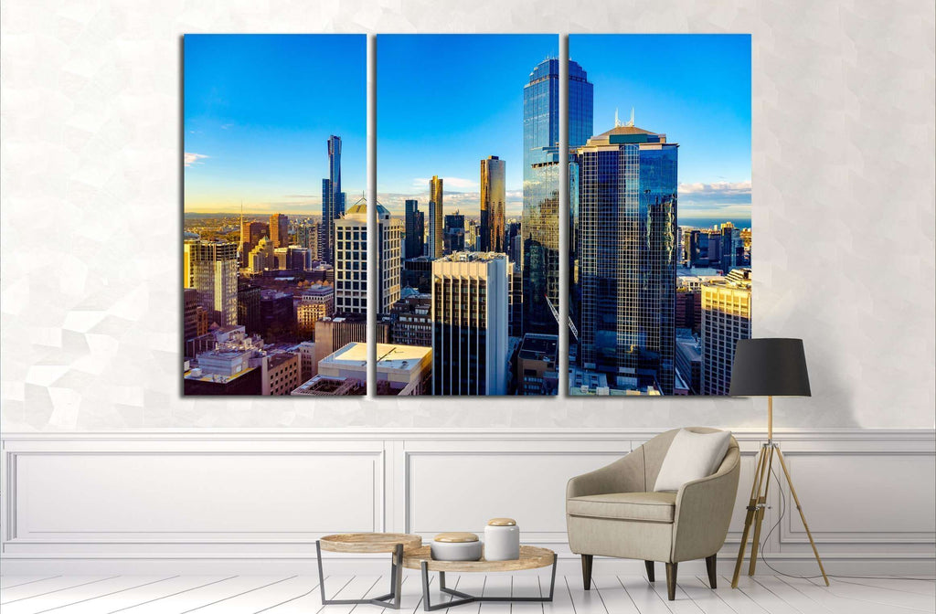 Looking East over Melbourne City,botanical gardens at sunrise №2415 Ready to Hang Canvas Print