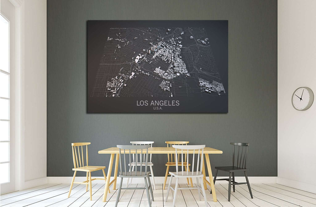 Los Angeles map, satellite view, section 3d, United States №2108 Ready to Hang Canvas Print