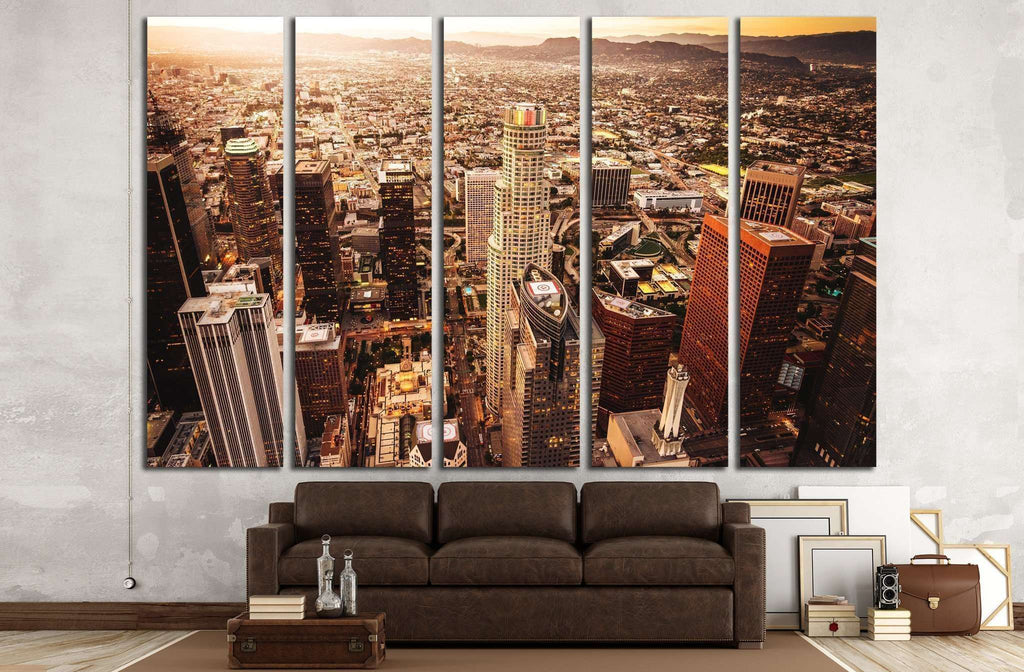Los Angeles skyline aerial view №1947 Ready to Hang Canvas Print