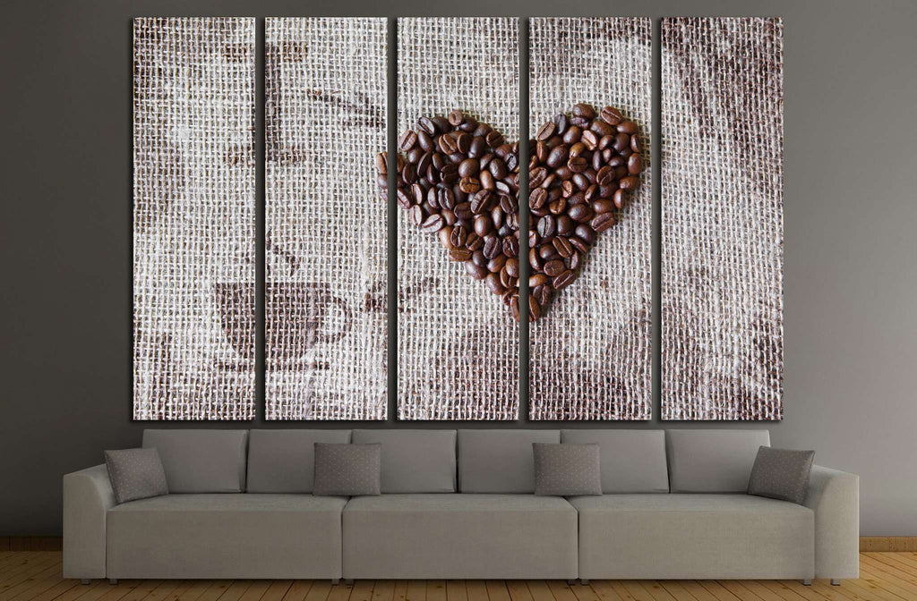 love coffee, coffee beans heart shape background №1915 Ready to Hang Canvas Print