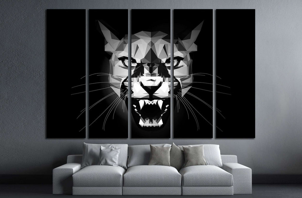 Low Poly aggressive Puma - black and white portrait - design illustration №2354 Ready to Hang Canvas Print