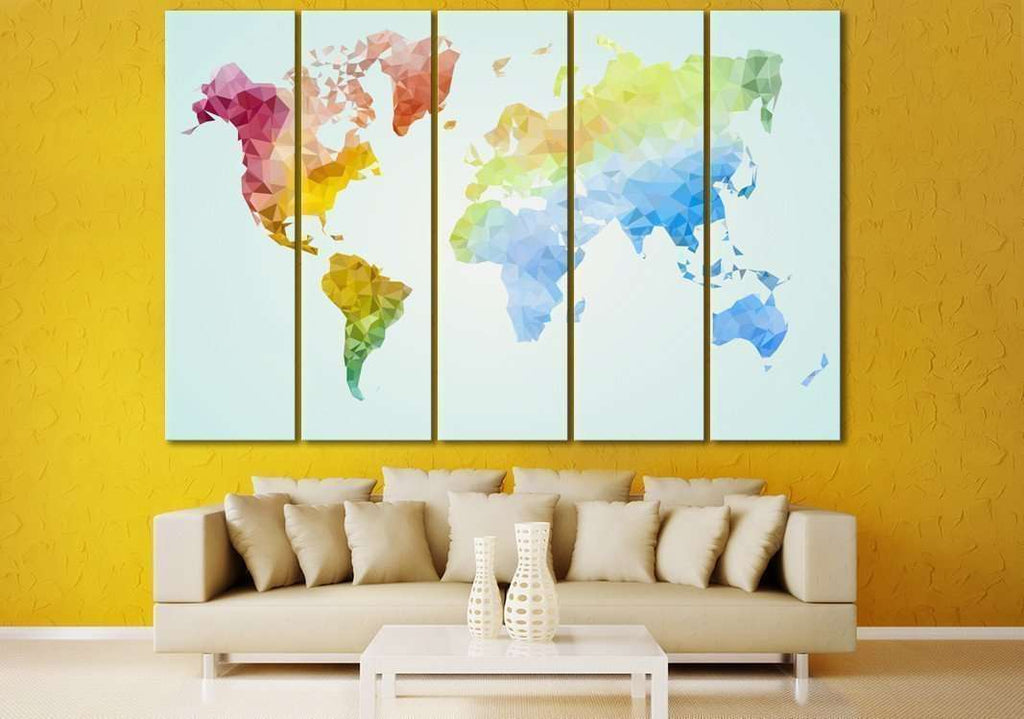 Low Poly World Map №110 Ready to Hang Canvas Print