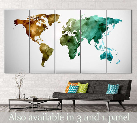 Low Poly World Map №111 Ready to Hang Canvas Print