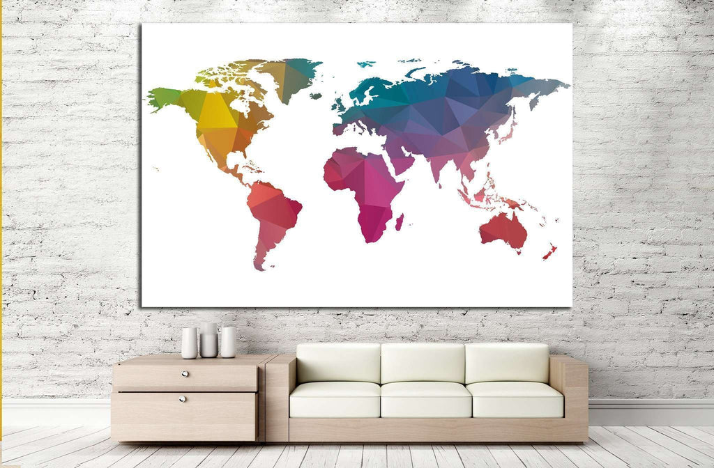 low Poly World Map №1455 Ready to Hang Canvas Print