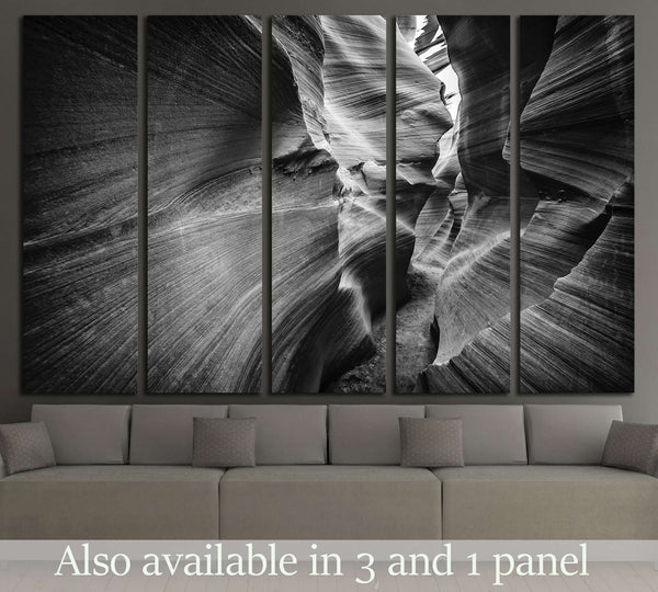Lower Antelope Canyon in black and white №2861 Ready to Hang Canvas Print