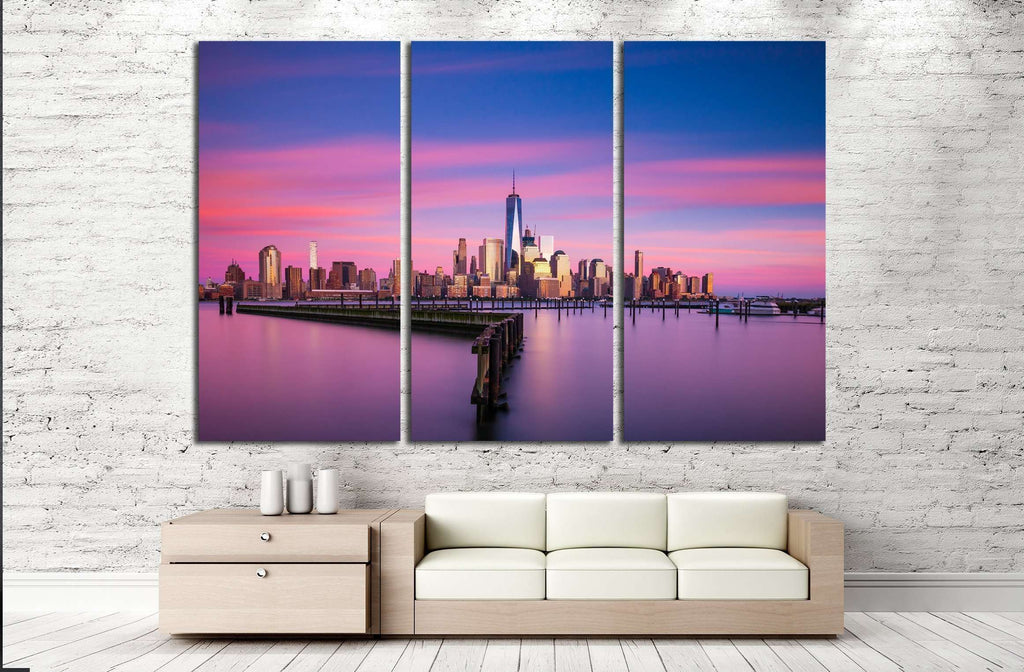 Lower Manhattan, New York City at sunset from Jersey City, New Jersey №2411 Ready to Hang Canvas Print